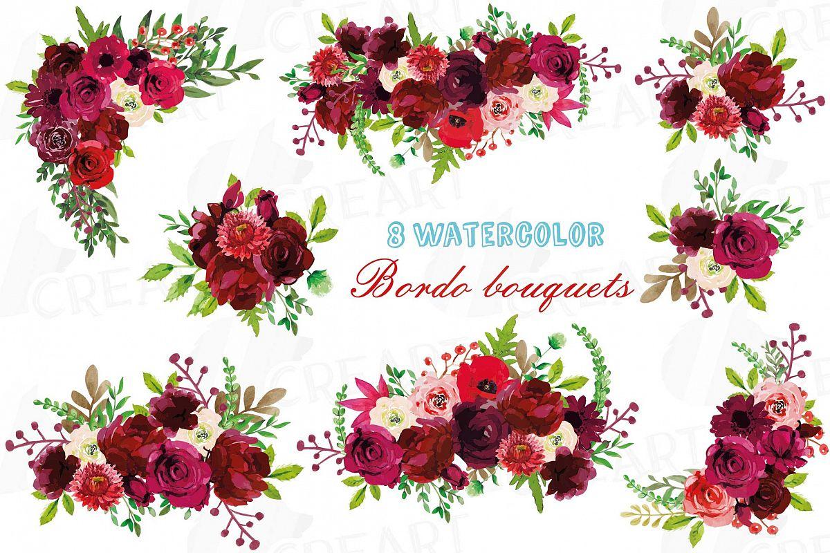Boho flower bouquet clipart png transparent library Boho Burgundy Red Watercolor clip art, floral bouquets png png transparent library