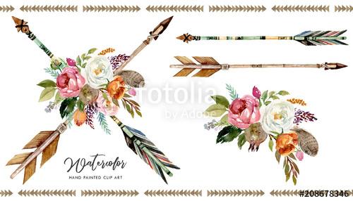 Boho flower bouquet clipart jpg transparent library Watercolor boho floral illustration set - arrows with vivid colorful ... jpg transparent library