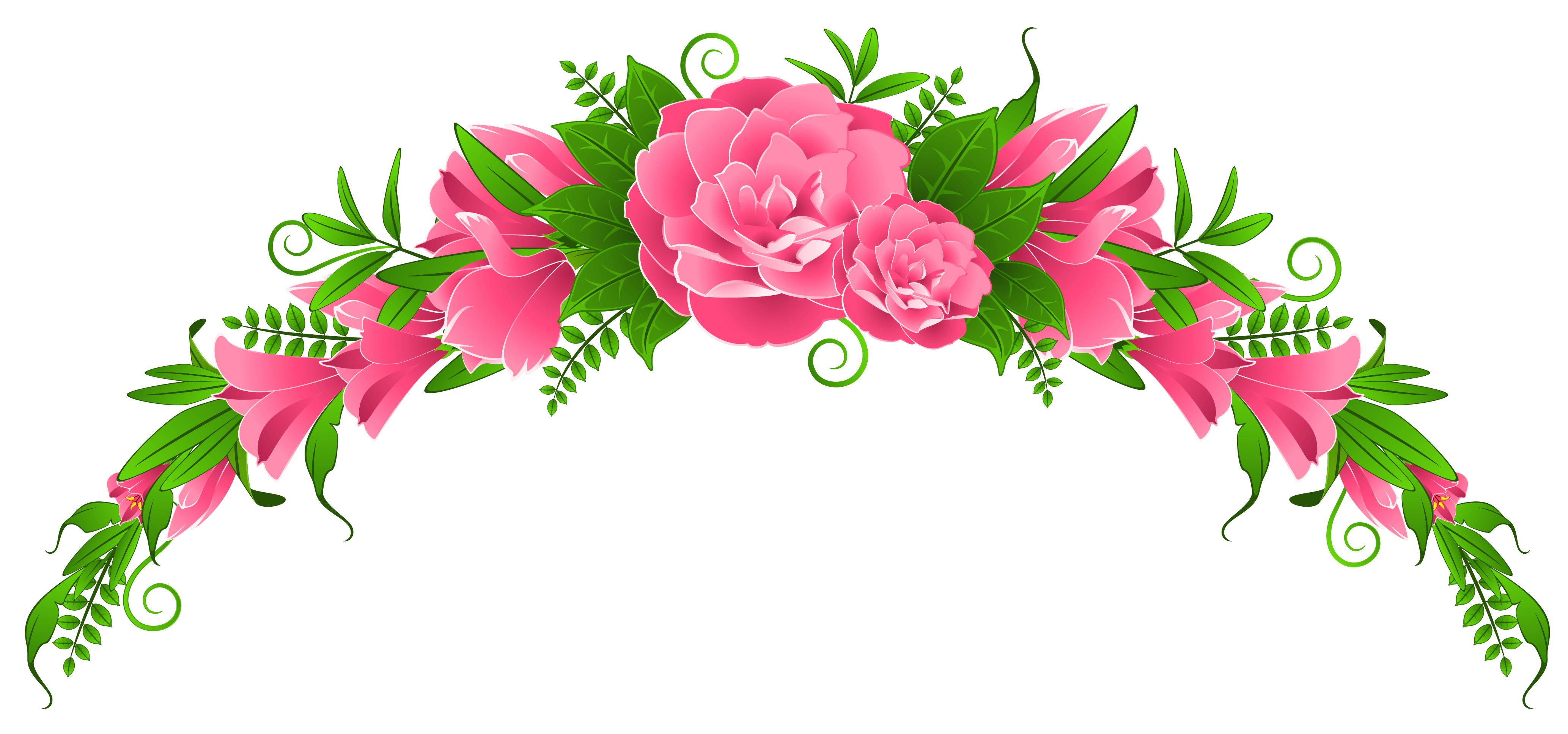 Pink Flowers and Roses Element PNG Clipart | Flowers | Pinterest ... image black and white download