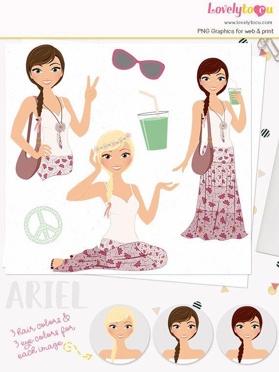 Boho girl clipart clip art transparent Boho girl character clipart summer festival woman digital web ... clip art transparent