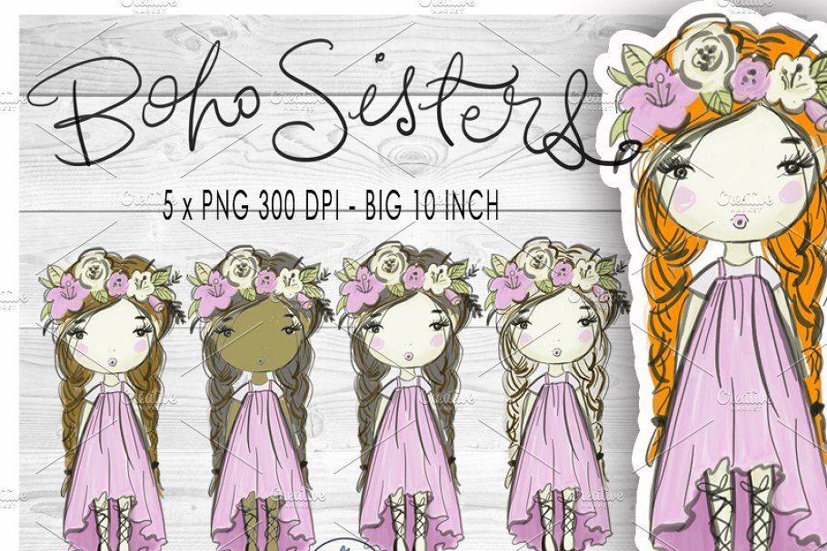 Boho girl clipart png library library Boho Girl Clip Art png library library