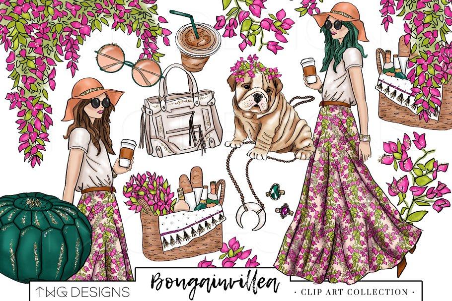 Boho girl clipart freeuse Fashion Girl Boho Chic Clip Art freeuse