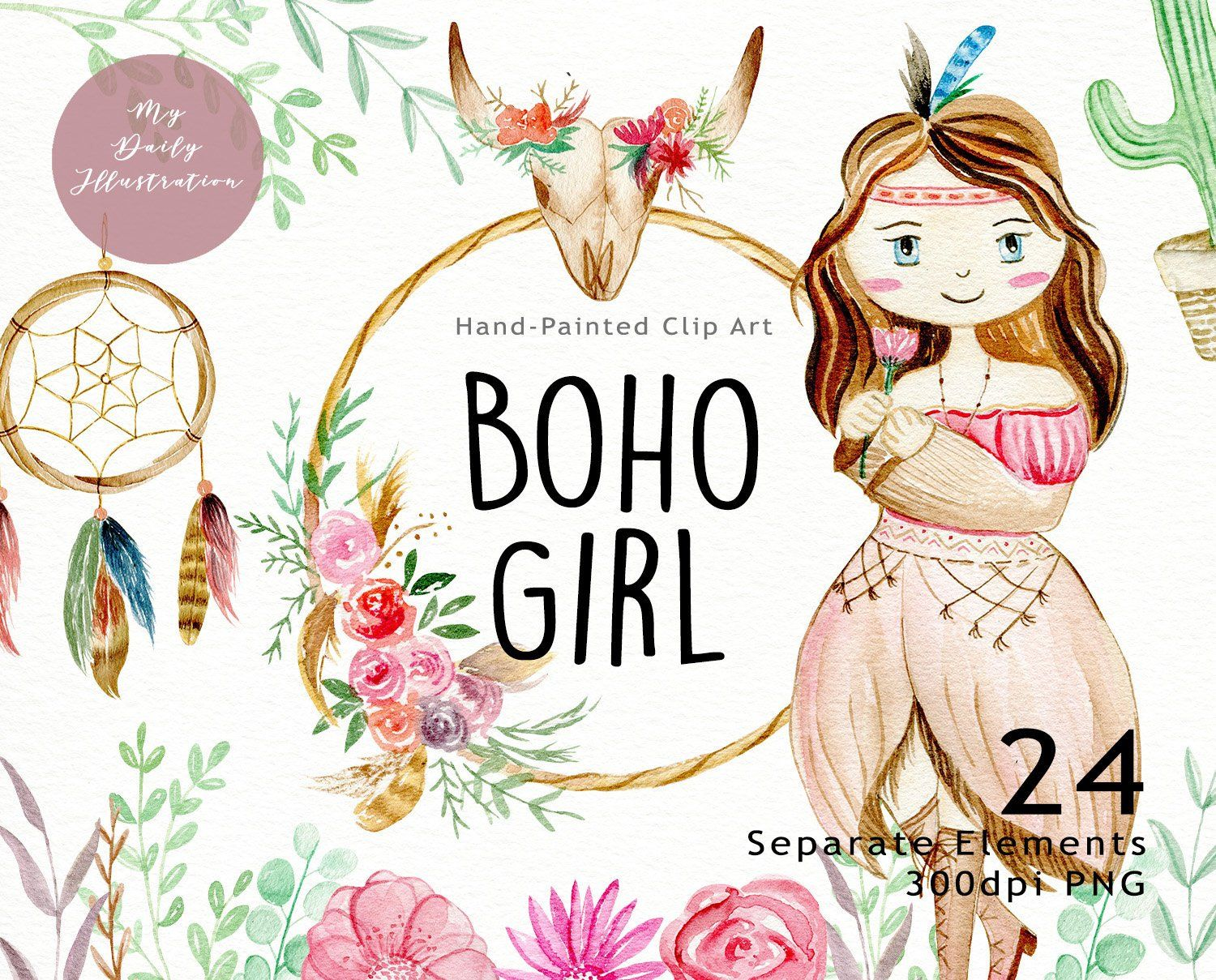 Boho girl clipart banner free download Watercolor boho girl clipart set for t-shirt design and other small ... banner free download