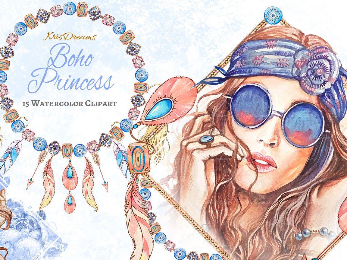 Boho girl clipart clip art free Boho Style Fashion Clip Art Watercolor Clip Art Dreamcatcher Feather ... clip art free