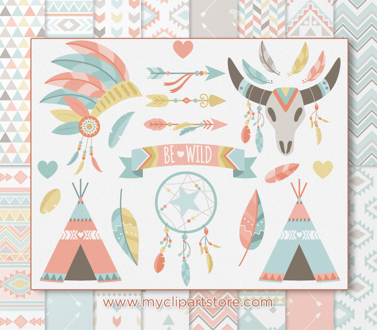 Boho tribal clipart vector stock Boho Tribal Clipart Combo vector stock