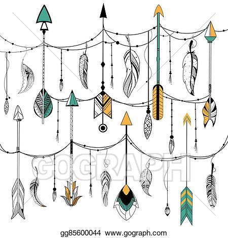 Boho tribal clipart jpg transparent library Vector Stock - Arrow and feather for tribal boho style. Clipart ... jpg transparent library