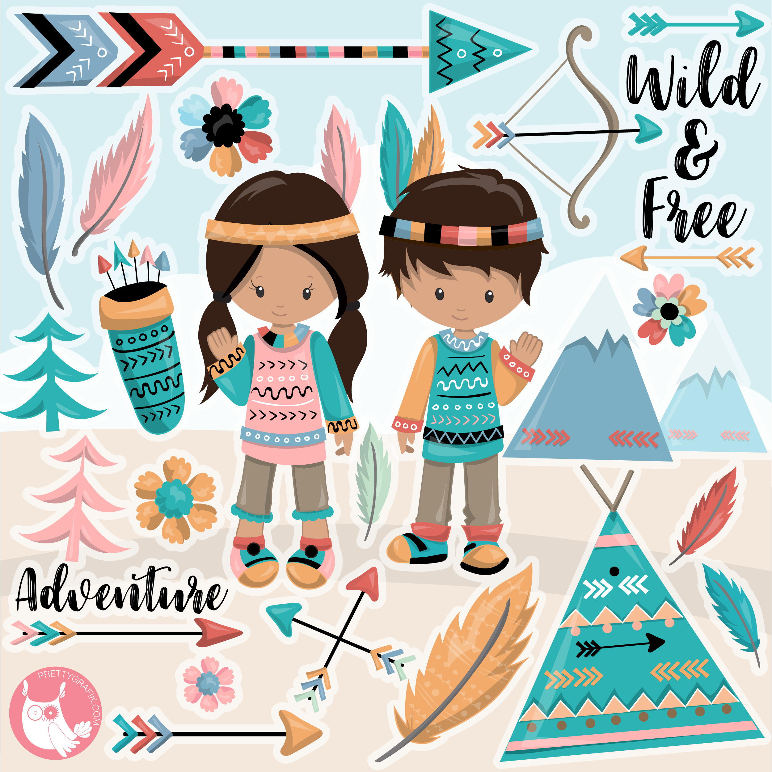 Boho tribal clipart clipart freeuse download Tribal boho kids clipart clipart freeuse download