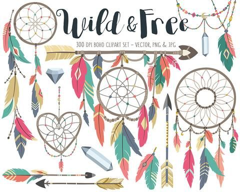 Bow and arrow boho baby blue clipart banner black and white stock Tribal Clipart - Boho Tribal Clip Art Set, Dreamcatcher, Feather ... banner black and white stock