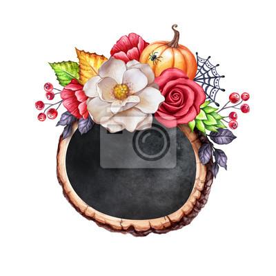 Bois d automne clipart svg royalty free download Papiers peints: Illustration botanique aquarelle automne, bannière ardoise  halloween, svg royalty free download