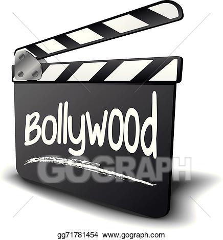 Bollywood sign black clipart jpg black and white stock Vector Stock - Clapper board bollywood. Clipart Illustration ... jpg black and white stock