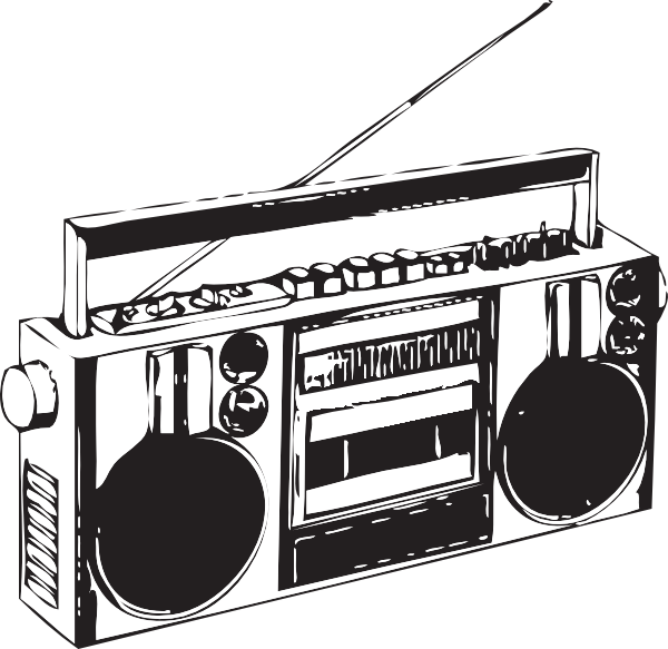 Bombox clipart black and white Boombox Clip Art at Clker.com - vector clip art online, royalty free ... black and white