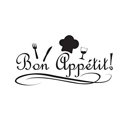 Bon appetit logo clipart banner transparent download Wall Decal Quote Sticker Vinyl Art Lettering Graphic Bon Appetit Kitchen banner transparent download