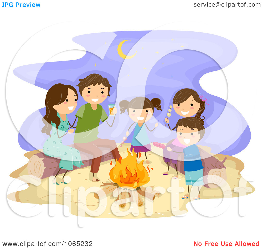 Bonfire with kids clipart svg transparent Clipart Stick Family Having A Bonfire At The Beach - Royalty Free ... svg transparent