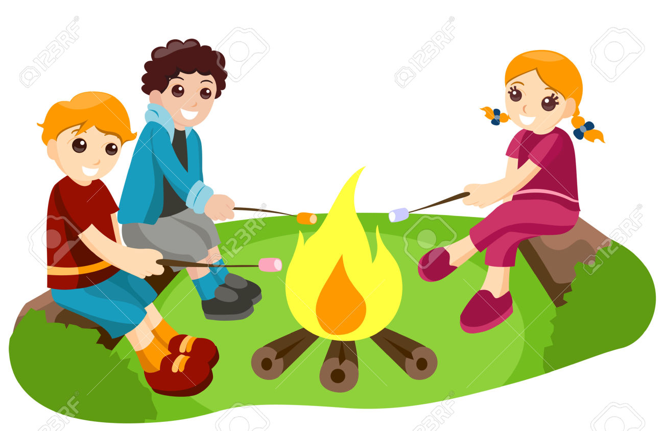 Bonfire with kids clipart clipart library library Kids and bonfire clipart - ClipartFest clipart library library