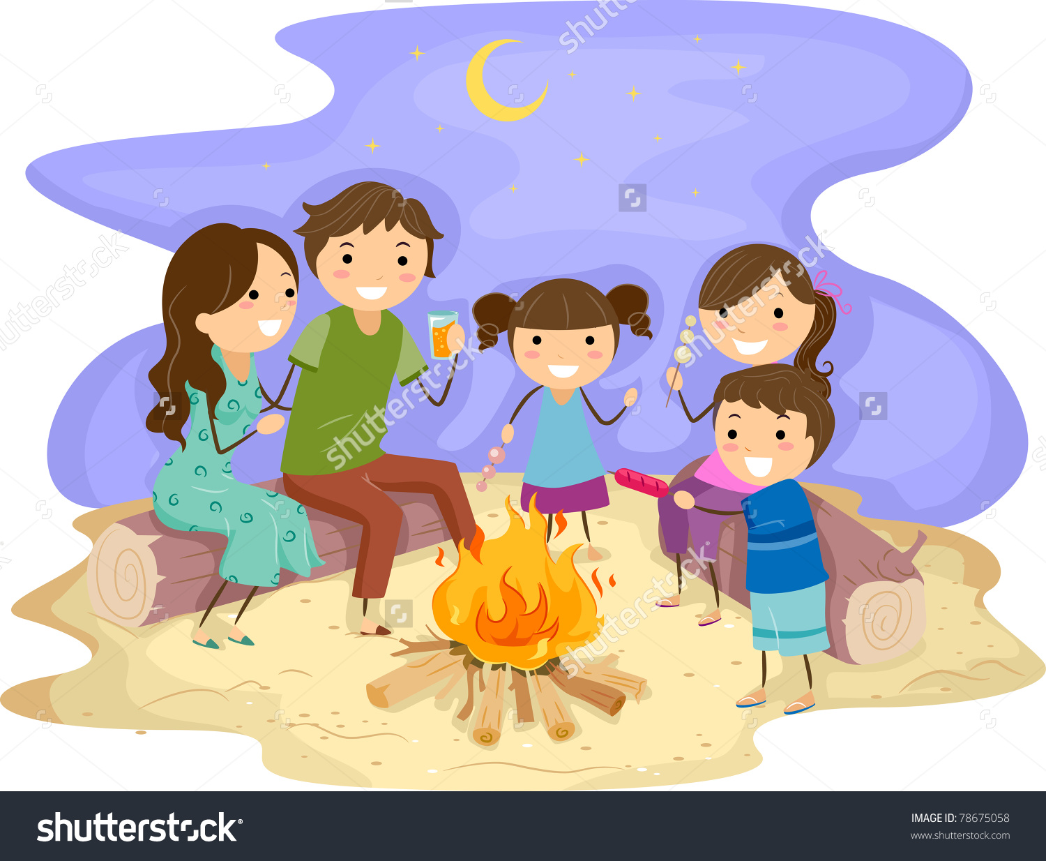 Bonfire with kids clipart clipart Illustration Family Gathered Around Bonfire Stock Vector 78675058 ... clipart
