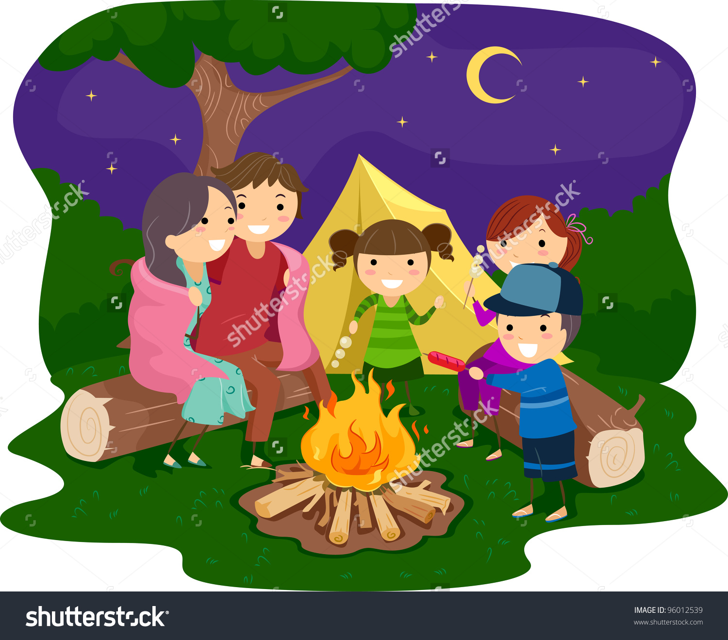 Bonfire with kids clipart clipart black and white library Illustration Family Gathered Around Bonfire Stock Vector 96012539 ... clipart black and white library