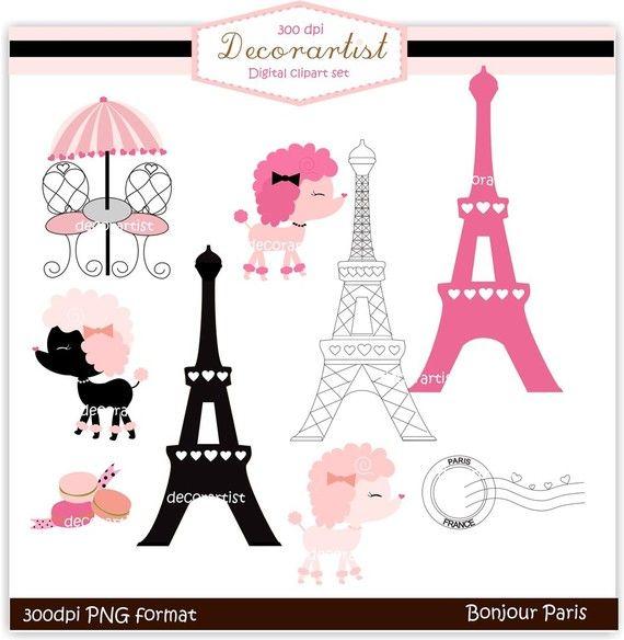 Bonjour paris clipart vector black and white stock clipart , French poodle digital clipart, bonjour Paris, french style ... vector black and white stock