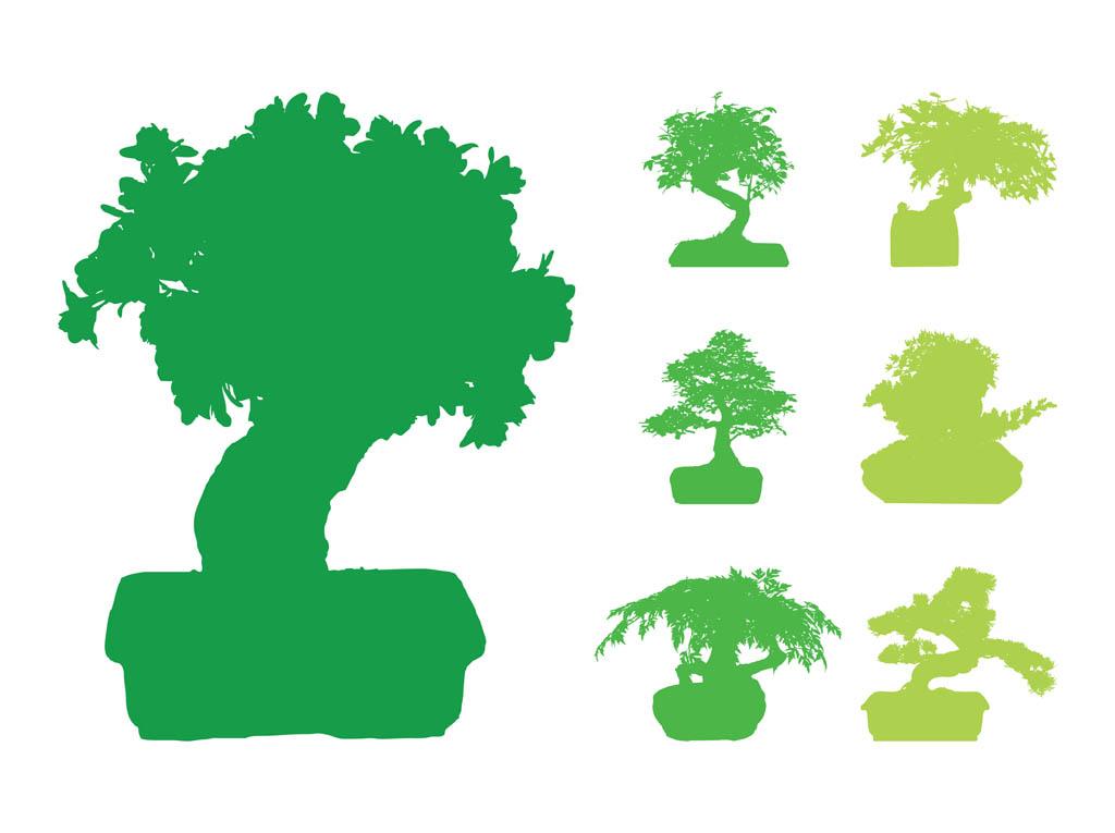 Bonsai tree silhouette clipart clipart freeuse Bonsai Trees Silhouettes Vector Art & Graphics   freevector.com clipart freeuse