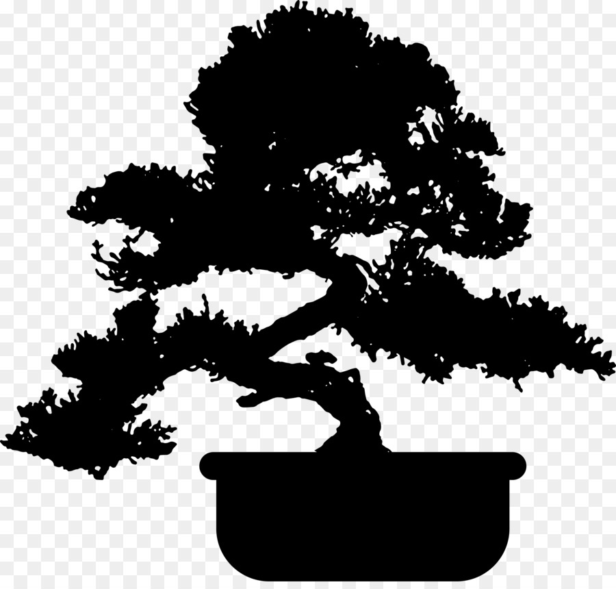 Bonsai tree silhouette clipart graphic library Black And White Flower clipart - Tree, Plant, Black, transparent ... graphic library