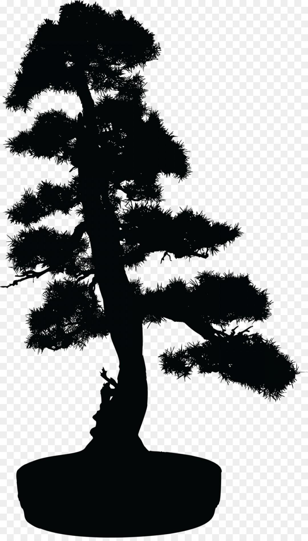 Bonsai tree silhouette clipart banner black and white stock Bonsai Tree Silhouette Clip Art Vector Bonsai Tree In A Pot Black ... banner black and white stock