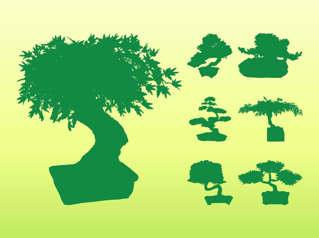 Bonsai tree silhouette clipart graphic transparent library Bonsai Tree Silhouettes Vector Art & Graphics   freevector.com graphic transparent library