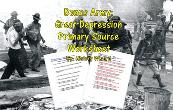 Bonus army during the great depression clipart jpg free Bonus Army Worksheets & Teaching Resources | Teachers Pay Teachers jpg free