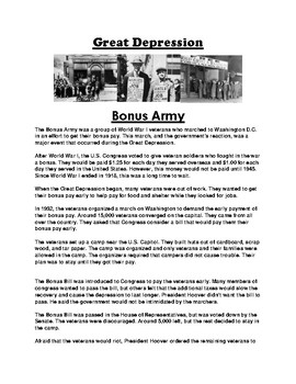 Bonus army during the great depression clipart clipart freeuse library Bonus Army Worksheets & Teaching Resources | Teachers Pay Teachers clipart freeuse library