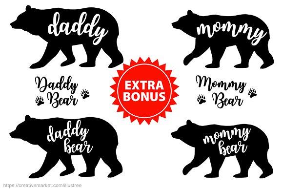 Bonus bear clipart free library Bear family silhouettes, vector set free library
