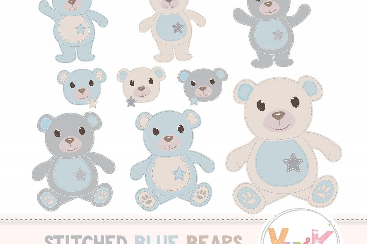 Bonus bear clipart svg download Teddy Bear Clip Art, Stitched Bear Clipart, Digital Clip Art, Blue Teddy  Bears, Baby Boy DIY Shower, Baby Pink and Beige svg download