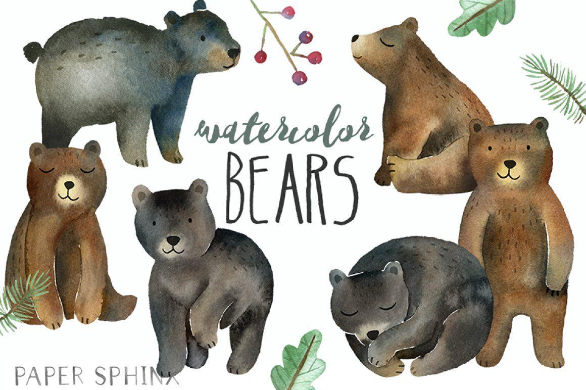 Bonus bear clipart svg freeuse stock Watercolor Bears Clipart watercolor clipart clipart woodland clipart ... svg freeuse stock