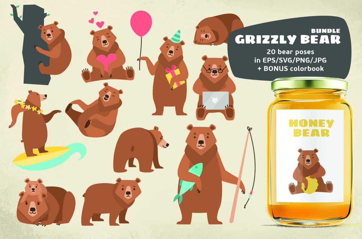 Bonus bear clipart png library stock Grizzly Bears Clipart Bundle png library stock