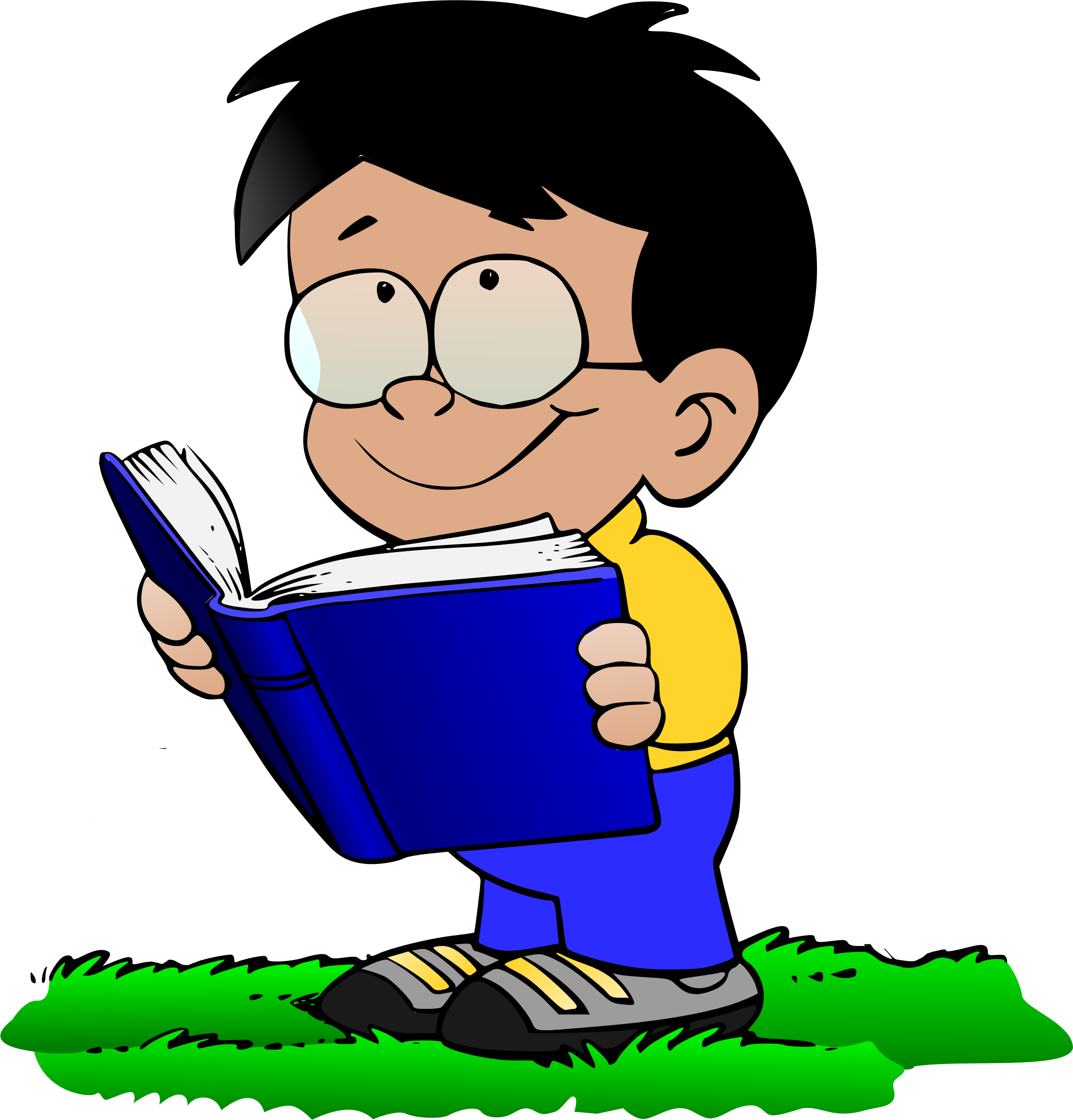 Book and glasses clipart png library library Clipart - Boy with Book v2 png library library
