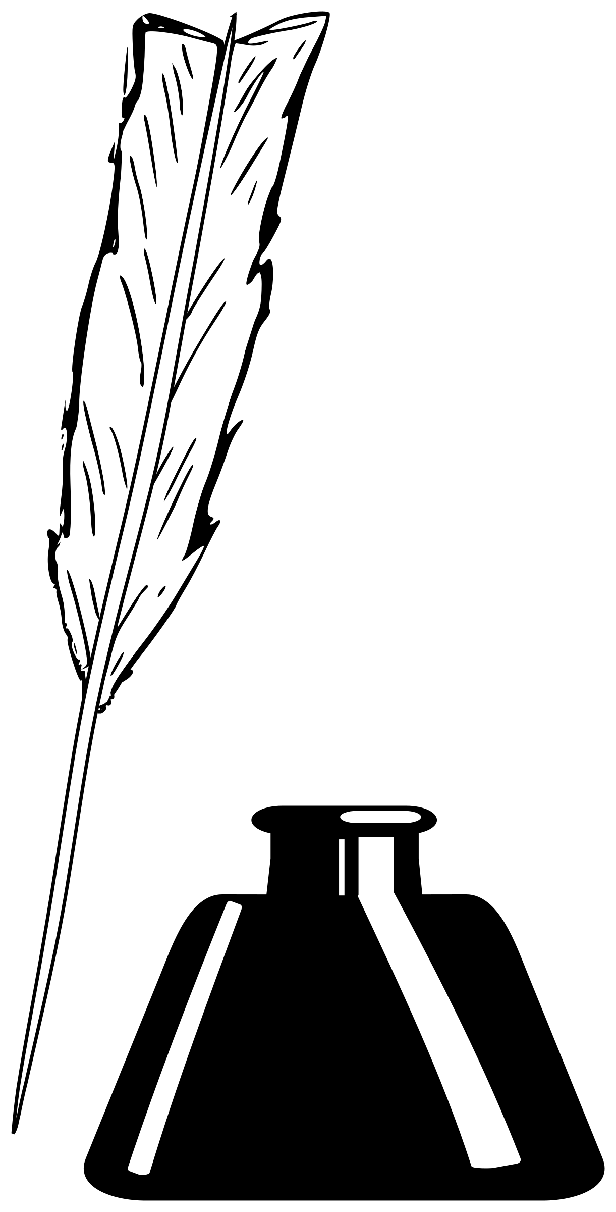Clipart - Quill and Inkwell image black and white