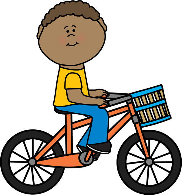 Girl driving car clipart banner free stock Boy Riding a Bicycle with a Basket | Postacie do opisania ... banner free stock