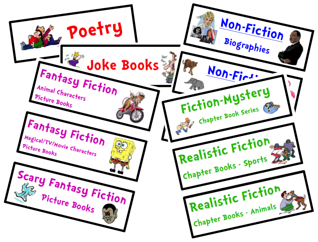 Nonfiction book clipart picture library library Organize Your Classroom Library {FREE Genre Bin Labels} | picture library library