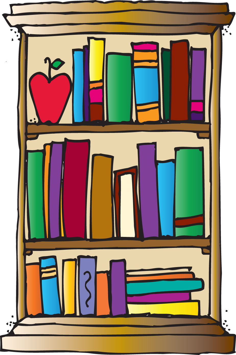 Book case clipart png black and white library Book shelf clip art - ClipartFest png black and white library