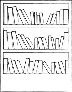 Book case clipart banner black and white stock Book Clipart Image - Bookcase or Bookshelf with Lots of Books banner black and white stock