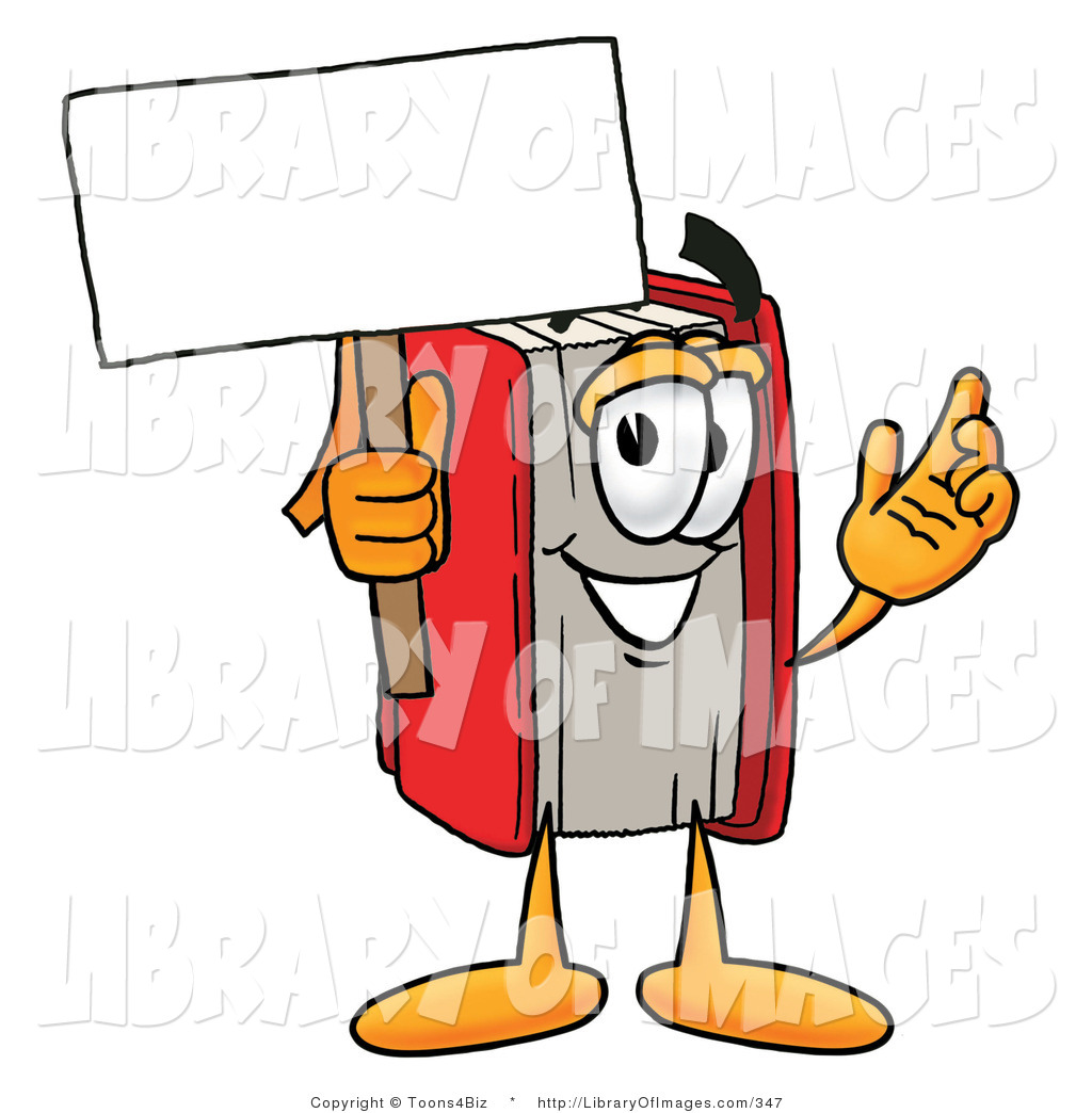 Book character clipart picture library download Clip Art of a Red Book Mascot Cartoon Character Holding a Blank ... picture library download