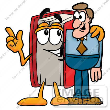 Book character clipart jpg black and white library Clip Art Graphic of a Book Cartoon Character Talking to a Business ... jpg black and white library