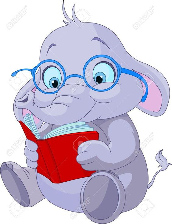 Cute elephant with glasses. Book character clipart free