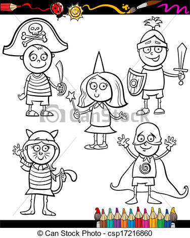 Book character costume clipart transparent download Clip Art Vector of kids in costumes set coloring page - Coloring ... transparent download