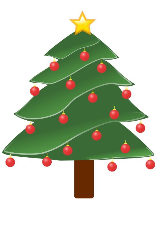 Decorated christmas tree clipart free stock clipartist.net » Clip Art » lightly decorated evergreen 1 christmas ... free stock