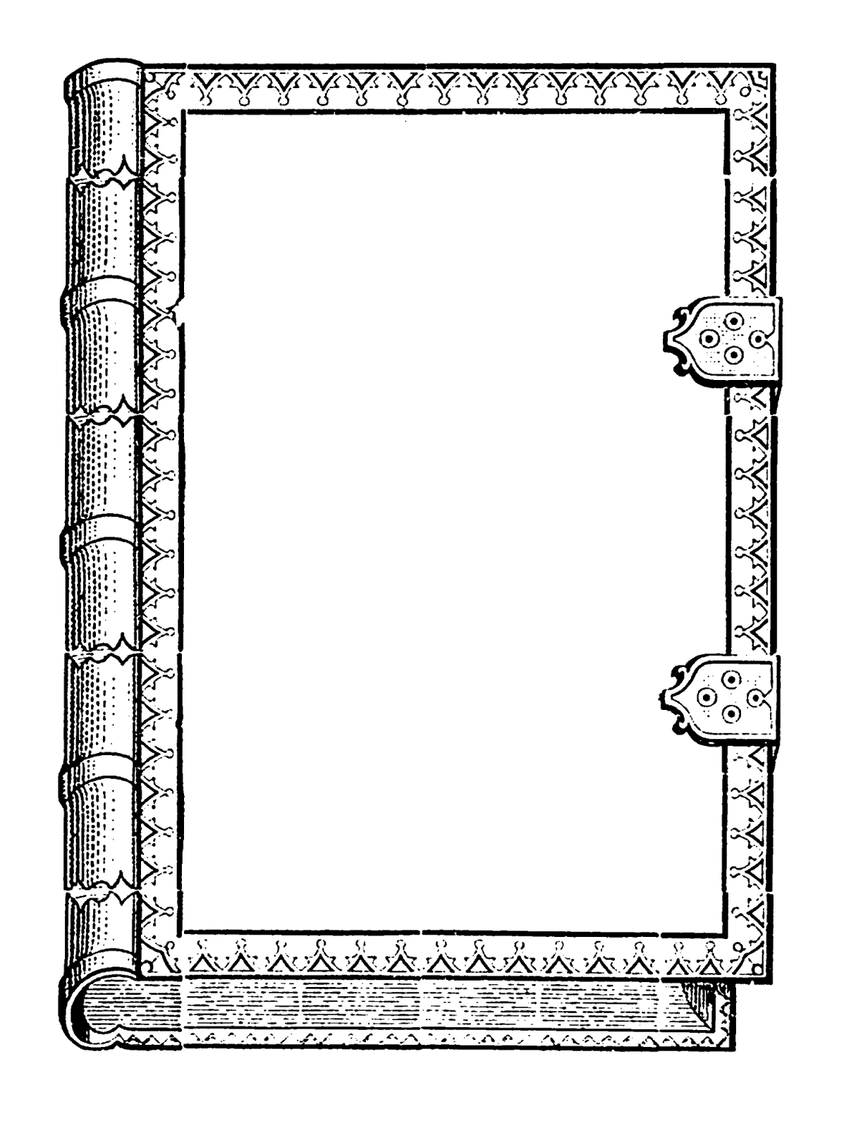 Book frame clipart png black and white download Digital Stamp Design: Commercial Use Old Book Design Digital Frames ... png black and white download