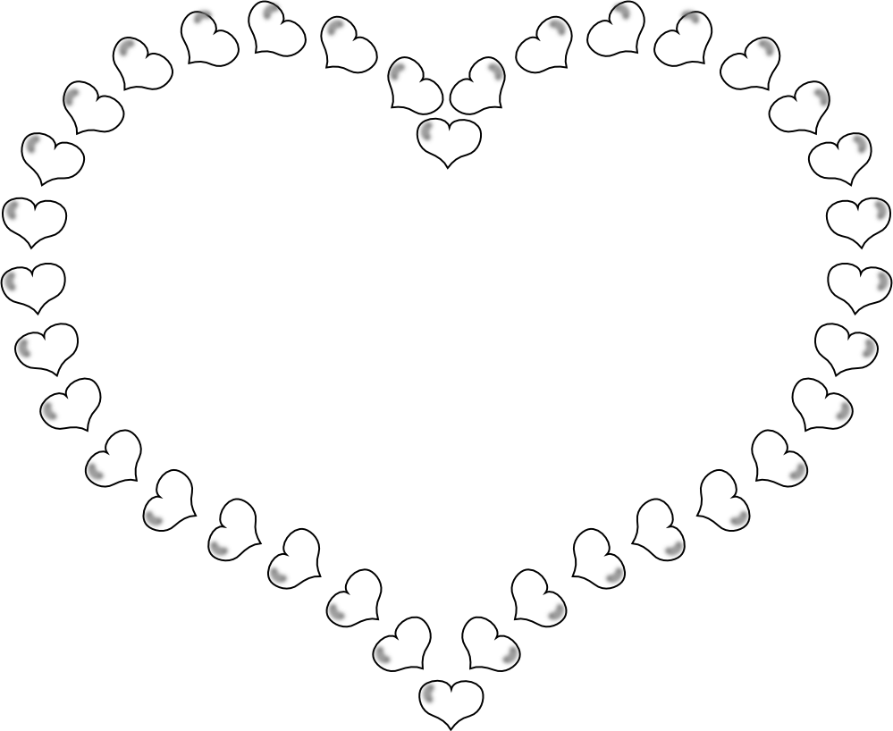 Heart shaped border clipart picture black and white library Hearts And Roses Coloring Pages | Heart Shaped Border Little Hearts ... picture black and white library