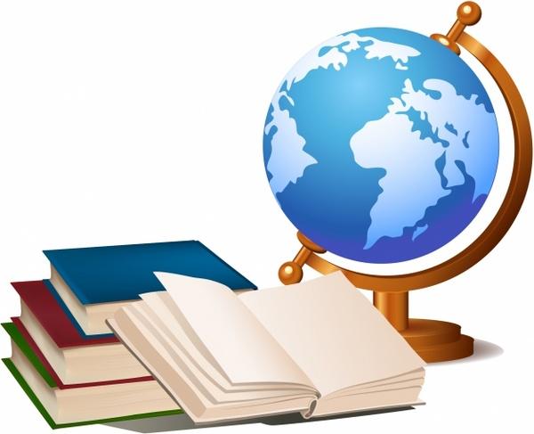Book globe clipart image freeuse Books and globe Free vector in Adobe Illustrator ai ( .AI ... image freeuse