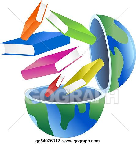 Book globe clipart banner royalty free Drawing - Book globe. Clipart Drawing gg54026012 - GoGraph banner royalty free