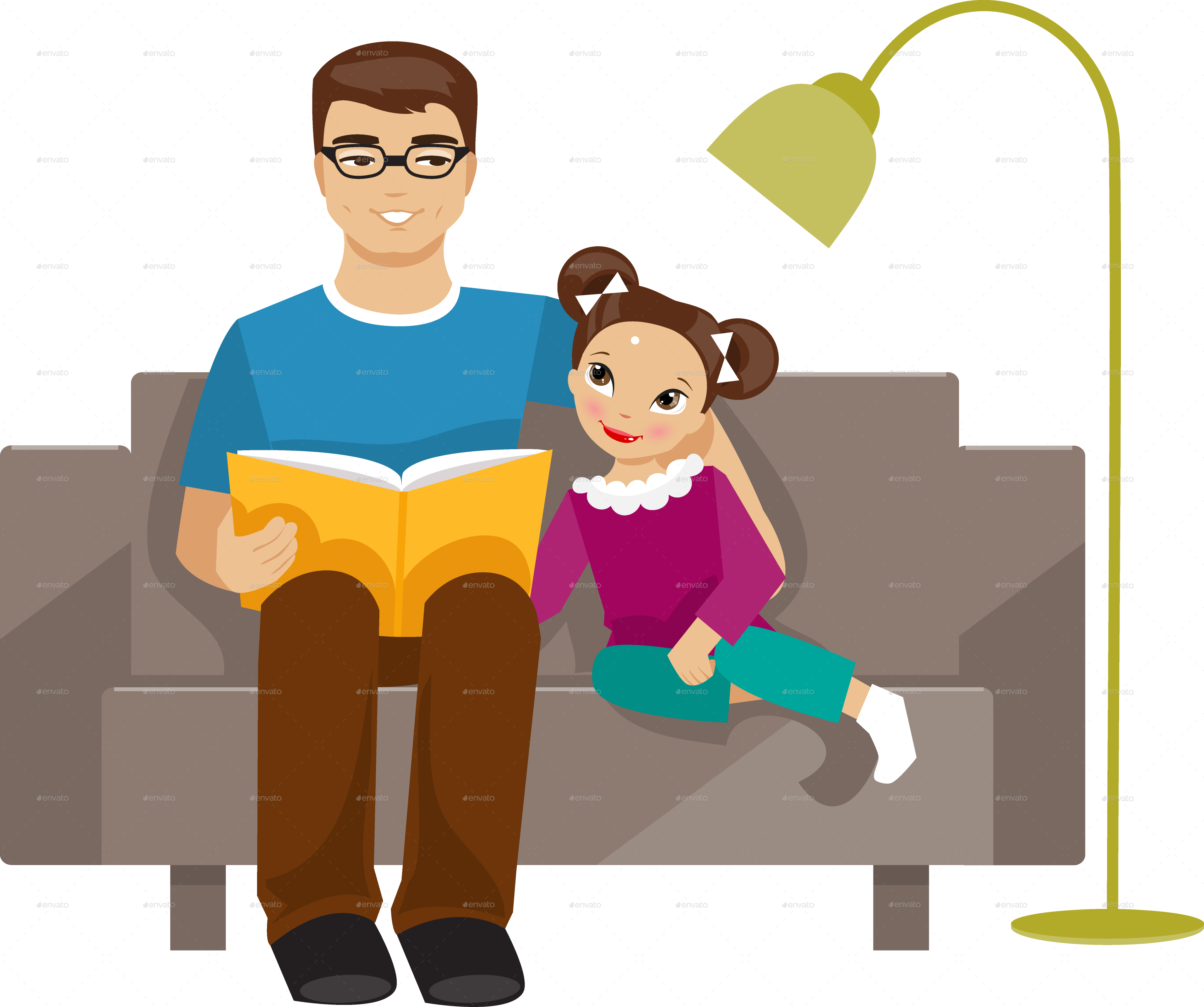 Kids share book clipart vector library download Father Reading a Book to His Daughter by artbesouro | GraphicRiver vector library download