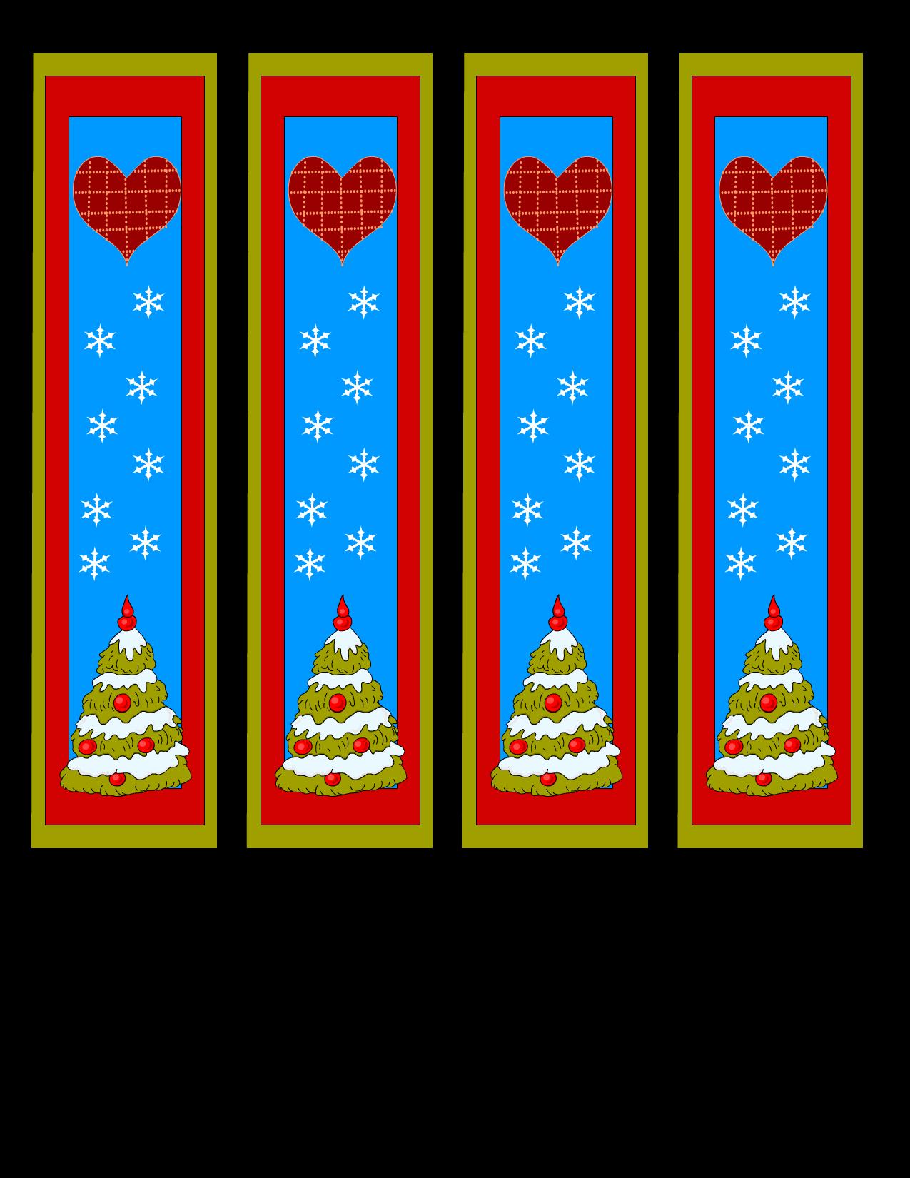 Book mark clipart vector transparent Free Printable Christmas Bookmarks vector transparent