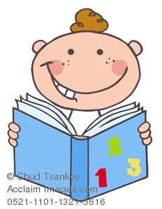 Book of numbers clipart vector black and white stock Clipart Image of A Happy Boy Reading From a Blue Book With Numbers ... vector black and white stock