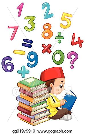 Book of numbers clipart graphic free library EPS Vector - Muslim boy reading book with numbers. Stock Clipart ... graphic free library